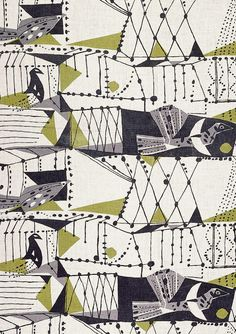 Textile Design by John Drummond. Mid Century Modern.