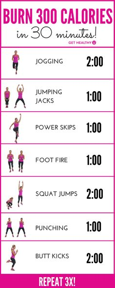 How do we know you'll burn 300 calories? Most experts agree that the average 150-pound woman, exercising with intensity, will burn about 100 calories in 10 minutes. This 30-minute workout, if done with INTENSITY (you're working hard enough to breathe through your mouth) will torch 300 calories and leave you feeling confident and healthy.
