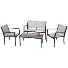 Salon de jardin : 1 table ovale 190cm plateau duranite + 4 ...