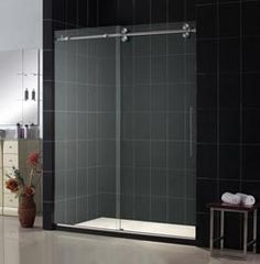 frameless euro style sliding shower door by delta glass houston