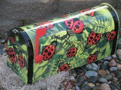 ladybug hand painted mailboxes   Ladybug custom hand painted mailbox by gonepostal09 on Etsy
