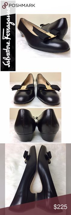"""Salvatore Ferragamo Signature Vara Pumps Salvatore Ferragamo Signature Vara Pumps in Classic Black with Gold Tone Hardware, Made in Italy 🇮🇹, Pad Cushions Installed, Reflected in Price,  Size 9 Tag with 1 3/8"""" Heel, Used in Good to Excellent Condition.             💕Make an Offer💕 Salvatore Ferragamo Shoes Heels"""