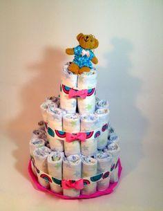 tarta pañales rosa fantasía