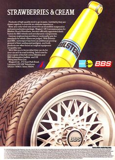 vintage BBS advertisement Bbs Wheels, Strawberries And Cream, Retro Cars, Bmw E36, The Incredibles, Royals, Vintage, Design