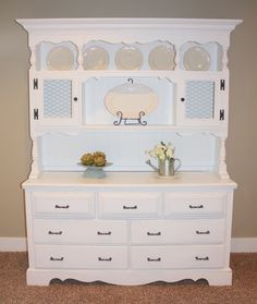 A dresser and a hutch put together and painted.  I'm so doing this for my living room.
