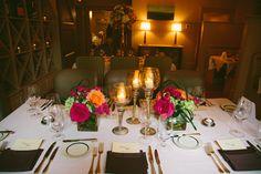 Table setup and flower arrangements at Circa 1886 Restaurant wedding.