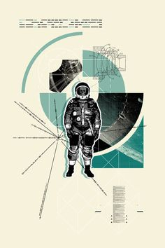 Cold Space  A3 art poster with astronaut by MadeForHomeee on Etsy,