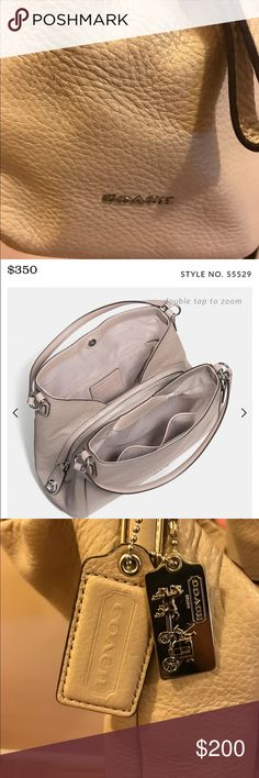 Coach Edie bag in refined pebbled leather Tan coach shoulder bag. Authentic. 13 inches long and 12 inches wide Coach Bags Shoulder Bags
