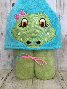 "Alligator Girl Applique Hooded Bath, Beach Towel, Cover Up 30"" x 54"" by MommysCraftCreations on Etsy"