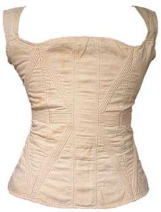 1828 Cream cotton stays with cording likely for a girl or young woman (28/22/26inches)