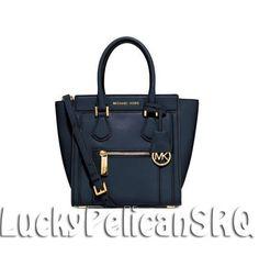 MICHAEL KORS Colette Medium  Satchel Messenger Bag Navy Blue NWT                 #MichaelKors #Satchel