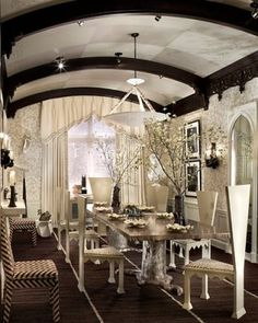 gothic dining room with a light fanciful touch :) by Anne Pyne for McMillen