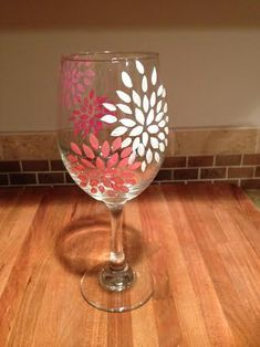 Girly pink and coral flowers Hand painted wine by UncorkMe on Etsy