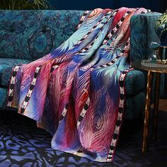 Shop peacock linen throw - SOLD OUT. From one of his most iconic prints comes this wild and wonderful throw—Peacock Hearts is signature Matthew Williamson. Adds vibrant color to a neutral sofa or bedroom. Pantone, Rainbow Snake, Neutral Sofa, Sofa Manufacturers, Butterfly Table, Eclectic Furniture, Eclectic Decor, Clem, Living Room Shop