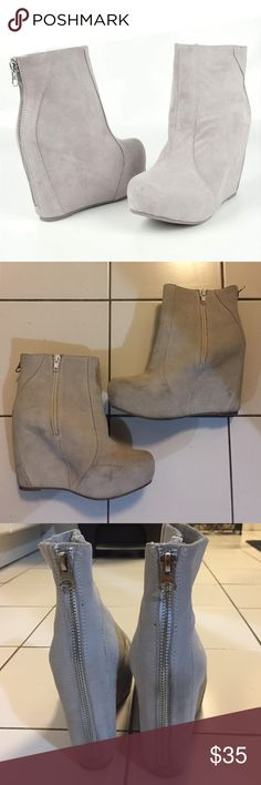 Jeffrey Campbell Pixie Grey Booties These boots have been loved so the pictures show the wear. Still have so much life left in them! The color is a light grey (first photo looks most like the actual color) Jeffrey Campbell Shoes Ankle Boots & Booties