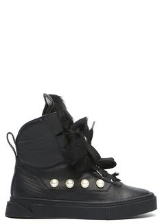7f1c03cfb6b72 Extraordinary design black fur lined sneaker style shoe from MyGrey. A  round toe