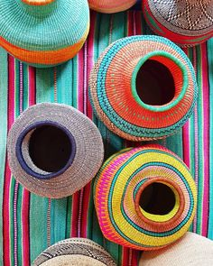 A celebration of WEAVERS!   How to bring colour and character to your home with a few simple objects? Incorporating globally influenceddesigns like these big  Baskets from Ghana or this rug from Peru!  Cultures happily collide in an eclectic house.  Find them on our website www.design-junkie.com.