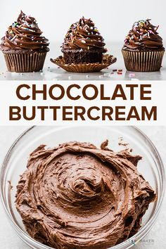 So you made an amazing chocolate cake and now you need the best chocolate buttercream frosting recipe to slather over it. This American chocolate buttercream is rich, silky smooth, and devilishly good! It also works as the perfect chocolate frosting for cupcakes. #saltandbaker #chocolate #buttercream #chocolatebuttercream #frosting #americanbuttercream