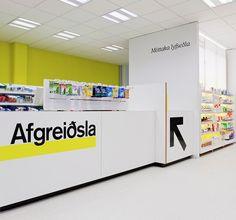 Pharmacy Design, Reykjavik, ICELAND, Apothekarin pharmacy in Mjodd shopping Mall, design Glama-Kim Architects and Paddy Mills, photo by Martin Sammtleben, www.facebook.com/epsilonbratanis