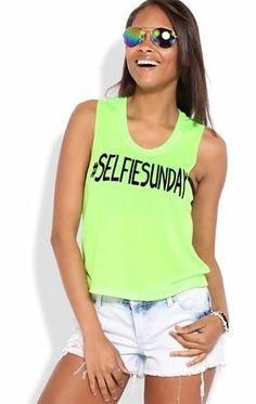 Deb Shops Deep Armhole Crop Tank Top with #Selfie Sunday Screen $9.75