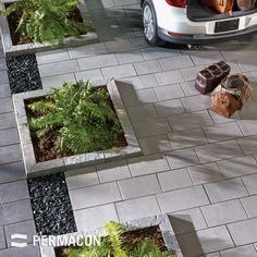Browse the : Inspiration page from Permacon, the specialist in landscaping and masonry! Driveway Landscaping, Modern Landscaping, Patio Design, Garden Design, Paved Patio, Modern Landscape Design, Patio Interior, Backyard Patio, Driveways