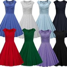 Vintage Hepburn style Women 50s Rockabilly Housewife Party Evening Swing Dress H #Unbranded #BallGown #Cocktail