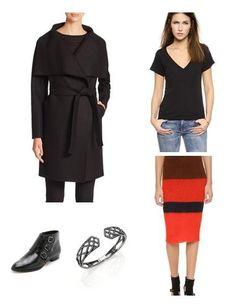Impeccably structured coat made from fine Italian wool features sartorial details like an oversized collar and an asymmetrical button front. Rag & Bone's knit skirt in shades of red adds vibrancy to the otherwise all-black ensemble. Loeffler Randall's bucket bag and a black crystal pavé bracelet add the finishing touches to this look.