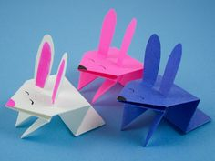 """Jumping origami bunny -  Press down on his back to watch him """"spring"""" up!"""