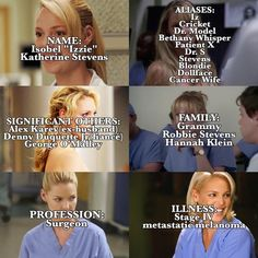 Shared by quinny:). Find images and videos about greys anatomy and izzie stevens on We Heart It - the app to get lost in what you love. Izzie Greys Anatomy, Grey Anatomy Quotes, Izzie Stevens, Mark Sloan, Greys Anatomy Characters, Dance It Out, Ex Husbands, I School, Grey's Anatomy