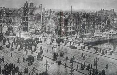 1916 Dublin City in ruins after the Easter Rising.