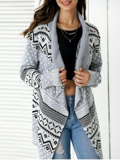 SHARE & Get it FREE | Stylish Geometric Pattern Asymmetrical Cardigan For…