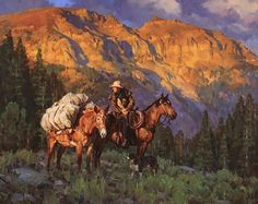 """Near the Summit"" by Jason Rich (Cowboy Artist) Cowboy Art, Southwest Art, Le Far West, Traditional Paintings, Mountain Man, Equine Art, Horse Art, Western Art, Native American Art"