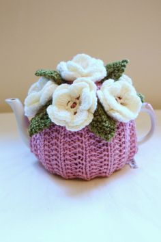 Flower Garden Tea Cosy in Pure Merino Wool by taffertydesigns