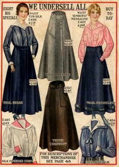Skirt and blouse styles from 1916 catalogue pages