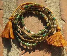 Macrame 5 turns bracelet with Moss Agate and brass beads - yoga jewelry