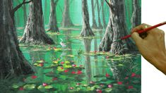 Acrylic Landscape Painting Tutorial Swamp in the Forest with Water Lilies and White Birds - YouTube
