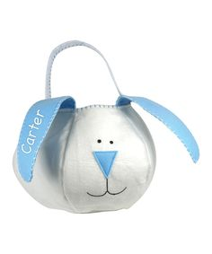 Take a look at this Blue Loppy Bunny Personalized Easter Basket today!  16.99