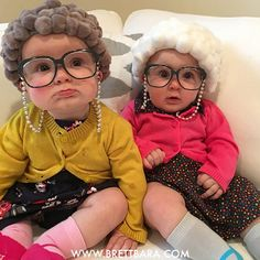 old lady baby halloween costumes for twins babies toddlers kids, designed by Brett Bara