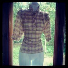 vintage puff sleeve plaid pullover
