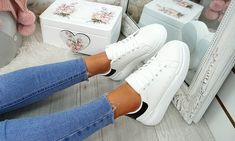 Platform Contrast Heel Trainers Lace Up Trainers, Leather And Lace, Party Wear, Contrast, Platform, Stylish, Sneakers, Casual, Shoes
