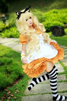 Cute Kawaii Orange Lolita Dress / Headband / Lolita Girl / Shoes / Jewelry / Fashion Photography / Vocaloid SeeU Cosplay  // ♥ More at: https://www.pinterest.com/lDarkWonderland/