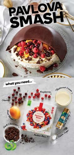 How to make a quick & easy Pavlova Smash with chocolate dome & fresh summer fruit Christmas Lunch, Christmas Cooking, Christmas Desserts, Christmas Treats, Christmas Cakes, Easy Desserts, Delicious Desserts, Dessert Recipes, Yummy Food