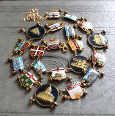 World traveler bracelet links deconstructed necklace enamel bracelet  vintage jewelry Australia France Sweden Canada Bermuda Germany England