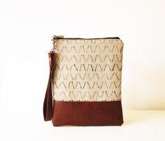 Geometriche frizione borsa sacchetto Wristlet tela cuoio di byMART