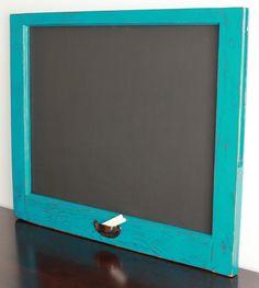 Up-cycled Vintage Window Chalkboard - Teal