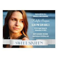 Full Photo Sweet Sixteen Birthday Party 4.5x6.25 Paper Invitation Card