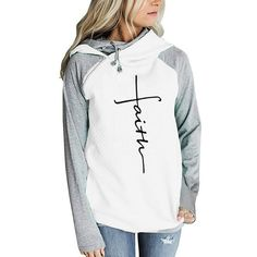 """Women/'s /""""Faith/"""" Graphic Distressed Cowl Relaxed Hooded Soft Brushed Top Hoodie"""