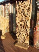 A fabulous and very stylish reclaimed teak root sculpture equally stunning indoors or outdoors. Constructed from pieces of teak root artistically formed to create a tall free standing unique structure suitable both as an artef Teak Garden Bench, Teak Garden Furniture, Garden Seating, Garden Chairs, Garden Art, Home And Garden, Sustainable Furniture, Teak Table, Small Garden Design