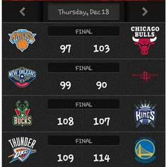 #Knicks 97-103 #Bulls. Jimmy Butler 35pts(career-high) 5rebs 7asts 4stls 1blk. Pau Gasol 20pts 7rebs 2asts 0stl 5blks. Aaron Brooks 18pts rebs 5asts 1stl 0blk. Tim Hardaway 23pts 2rebs 5asts 1stl 0blk. Amare Stoudemire 16pts 6rebs 2asts 2stls 4blks. Cole Aldrich 13pts 10rebs 3asts 1stl 1blk.  . #Pelicans 99-90 #Rockets. Anthony Davis 30pts 14rebs 3asts 2stls 5blks. Jrue Holiday 16pts 3rebs 10asts 2stls 2blks. Ryan Anderson 16pts 6rebs 1ast 0stl 0blk. Dante. Cunningham 15pts 5rebs 0ast 0stl…