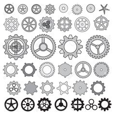 Steampunk Gear Collection Machine Gear, Wheel Cogwheel Vector ... More